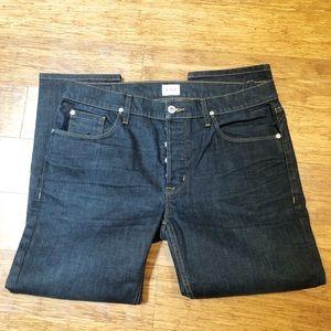 Hudson dark wash straight leg jeans 36W X 28L. EUC
